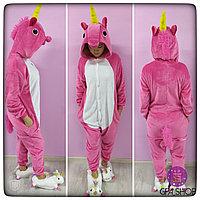 Пижама кигуруми единорог розово-белый