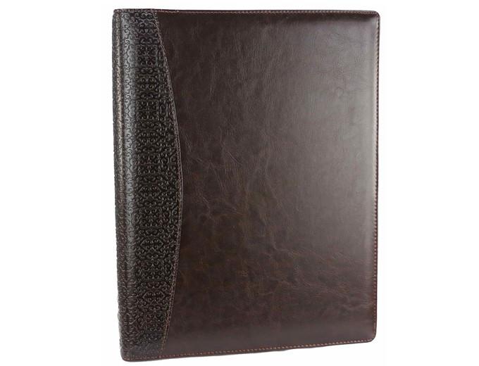 Деловая папка А4 с блокнотом коричневая