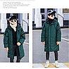 Куртка удлинённая зимняя для мальчиков от 5 до 12 лет, изумрудная.