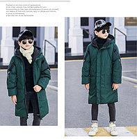 Куртка удлинённая зимняя для мальчиков от 5 до 12 лет, изумрудная., фото 1