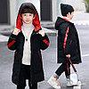 Куртка удлинённая демисезонная для мальчиков от 5 до 12 лет, черная.