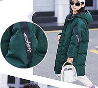 Куртка удлинённая демисезонная для девочек от 5 до 12 лет, изумрудная., фото 1