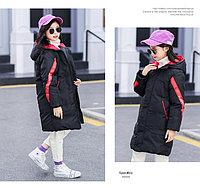 Куртка удлинённая демисезонная для девочек от 5 до 12 лет, черная.