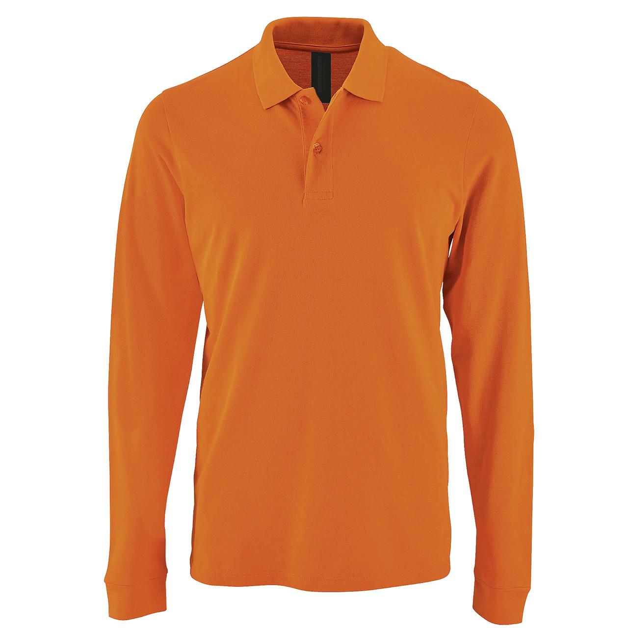 Футболка поло с длинным рукавом   Оранжевая   200 г/м² XS