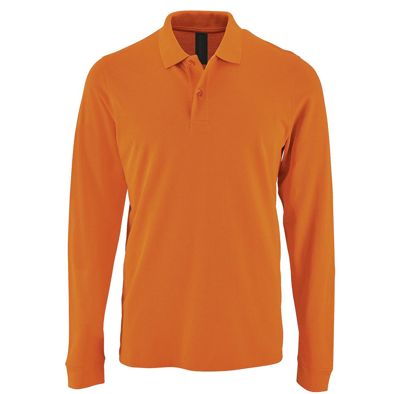 Футболка поло с длинным рукавом   Оранжевая   200 г/м² L