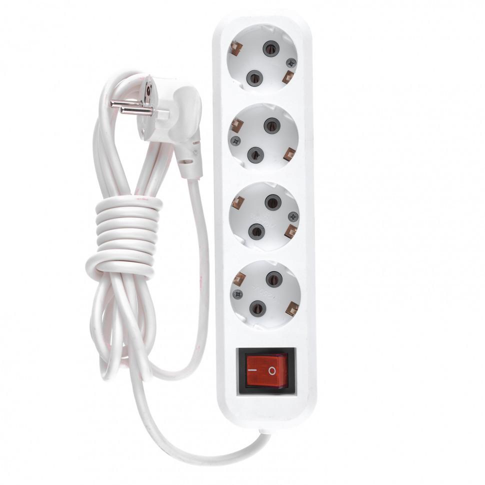 Удлинитель бытовой, с заземлением и выключателем, 2 м, 4 розетки, 10 A, серия УХз10 Denzel