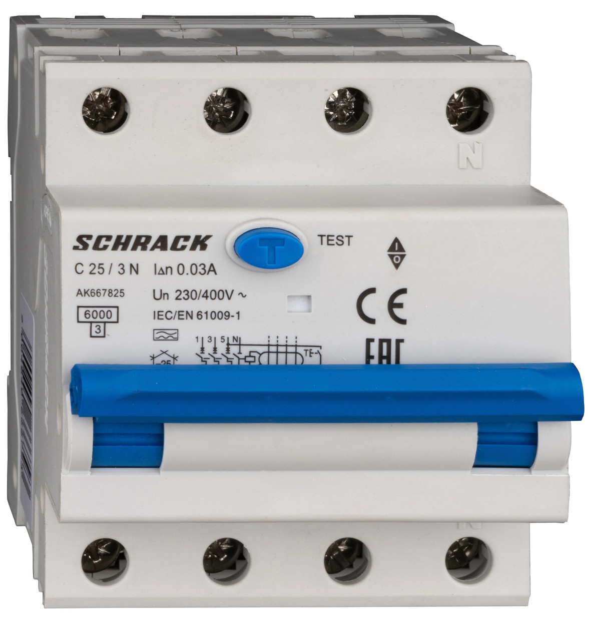 Автоматический выключатель с УЗО 3+N 25А 30мА