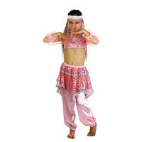 Карнавальный костюм 'Ясмин', повязка, топ с рукавами, штаны, цвет розовый, р-р 34, рост 134 см