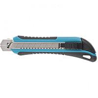 Нож, 170 мм, обрезиненный ABS-корпус, выдвижное сегментное лезвие 18 мм (SK-5), металлическая направляющая, 5 запасных лезвий Gross