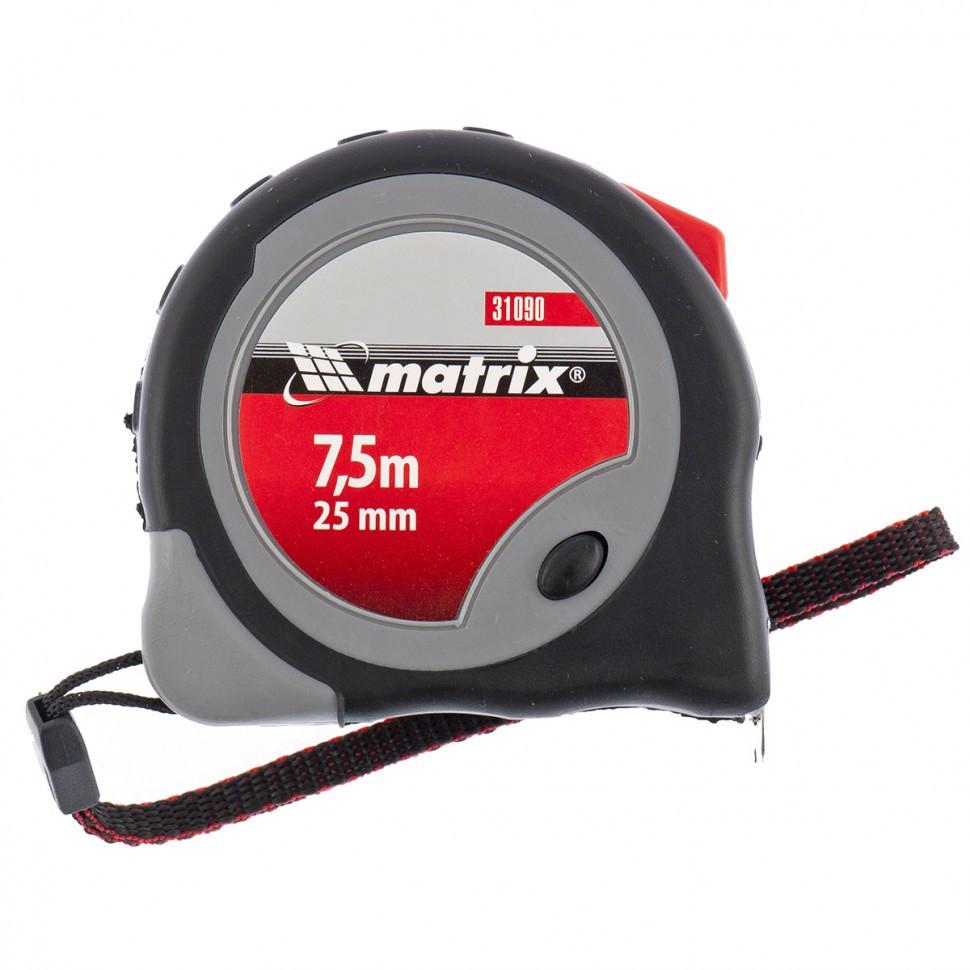 Рулетка Continuous fixation, 7,5 м х 25 мм, двухкомпонентный корпус, плавная фиксация Matrix