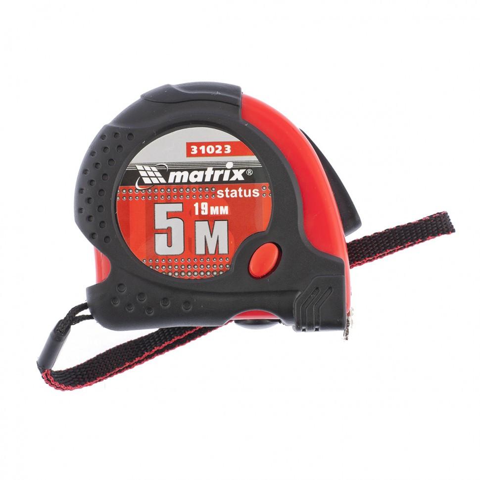 Рулетка Status Magnet fixation, 5 м х 19 мм, обрезиненный корпус, зацеп с магнитом Matrix