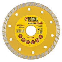 Диск алмазный, отрезной Turbo, 125 х 22,2 мм, сухая резка Denzel