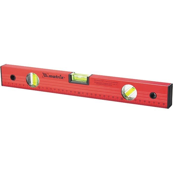 Уровень алюминиевый, 1000 мм, 3 глазка, красный, линейка Matrix