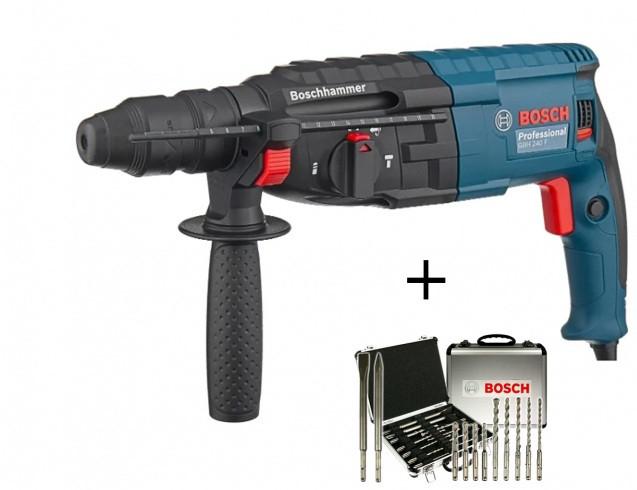 Перфоратор Bosch GBH 240 F in case + 11 pcs SDS Plus-Set (0615990L2S)
