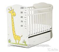 Детская кроватка Жираф  белый   (фотопечать,цвет серый), фото 2