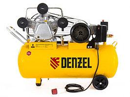Компрессор масляный PC 3/100-504, ременный, производительность 504 л/м, мощность 3 кВт Denzel