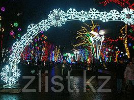 Новогодняя уличная конструкция, арка, растяжка, мотивы, консоль, снежинка, звезда, конструкция