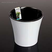 Кашпо со вставкой «Арте», 0,6 л, цвет бело-чёрный