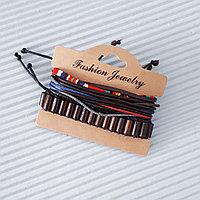 Кожаный многослойный браслет (фенечки), Brown, фото 1