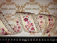 Декор лента хлопковая с цветочным рисунком, кружевные края,роз,45 мм,Д3-126