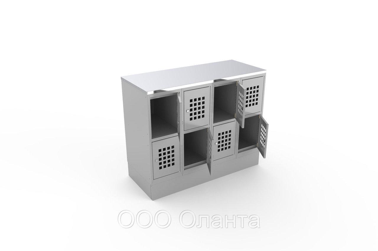 Шкаф для сумок горизонтальный 8 ячеек со столешницей (1200х500х970) арт. ШР48