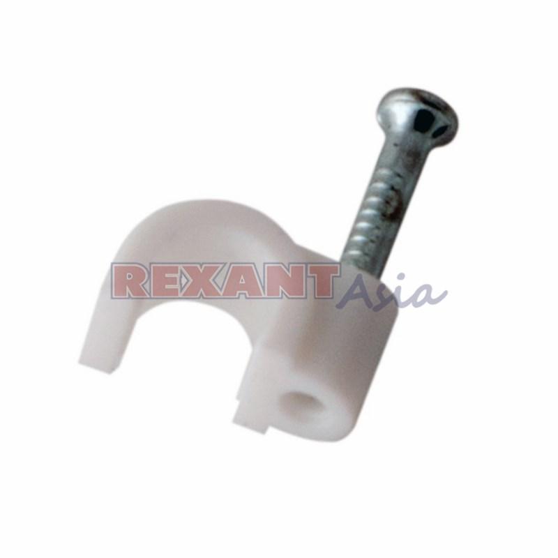 Крепеж кабеля круглый 5 мм, белый (упак. 50 шт)  REXANT, 07-4005