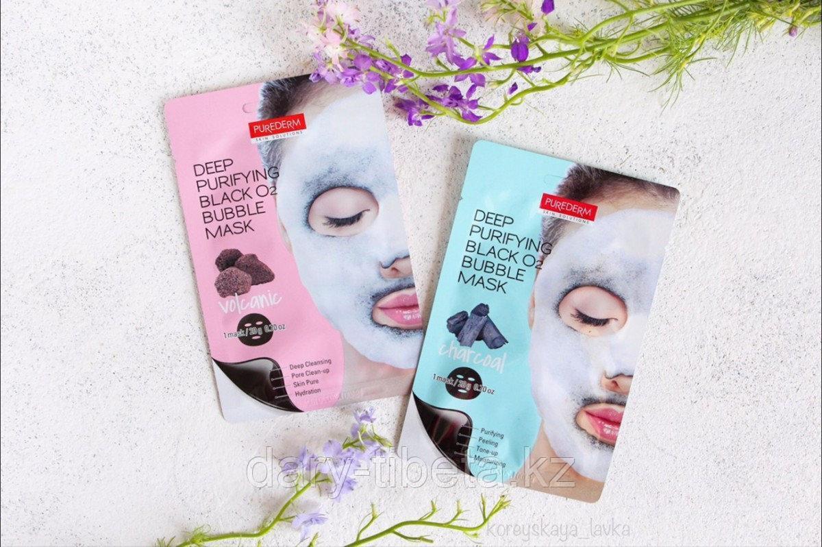 Deep Purifying Black O2 Bubble Mask/Кислородная пузырьковая маска с вулканическим и древесным углем