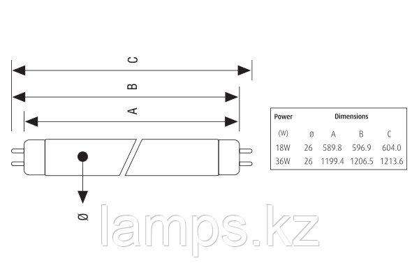 Лампа флюоресцентная T8 FT/36W/G13/RED/T8, фото 2