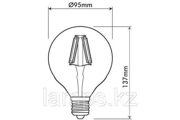 Светодиодная Декоративная лампа LEDISONE-RETRO/G95/8W/SMD/E27/2700K/DIM/CBOX, фото 2