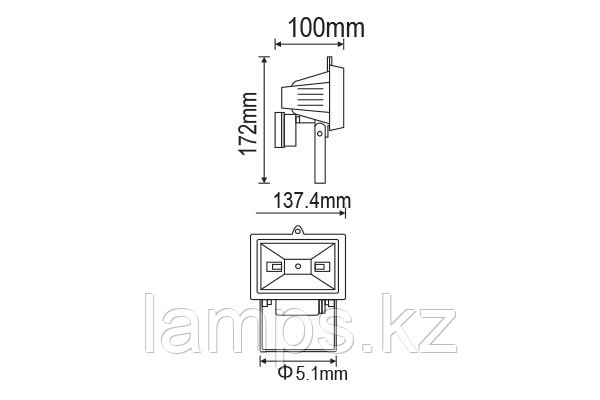 Прожектор NODE-78/R7S/Черный/IP54/78MM