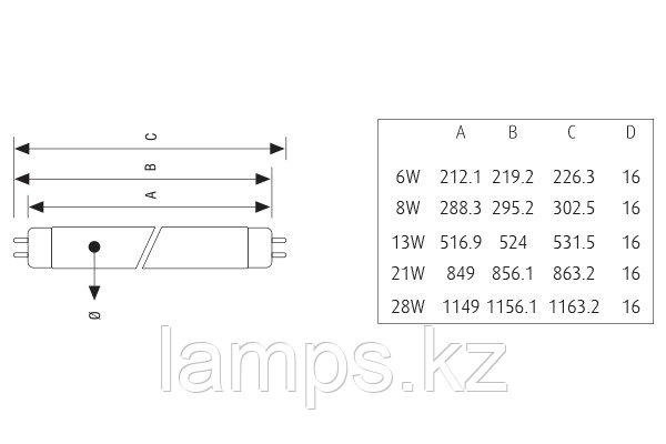 Лампа Люминесцентная VITO T5-6W/WHITE
