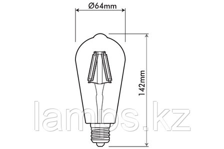 Светодиодная лампа VO/LEDISONE-RETRO/ST64/8W/SMD/E27/25K/220V, фото 2