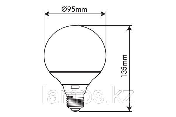 Светодиодная лампа VO/BASIS/11W/SMD/E27/6400K/G95/CBOX, фото 2