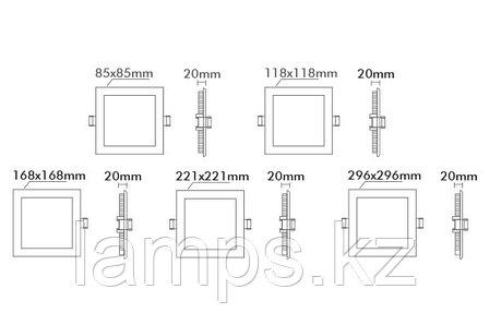 Светодиодная встраиваемая панель квадратная LENA-SX/3W/SMD/3000K/Φ73MM/220V, фото 2