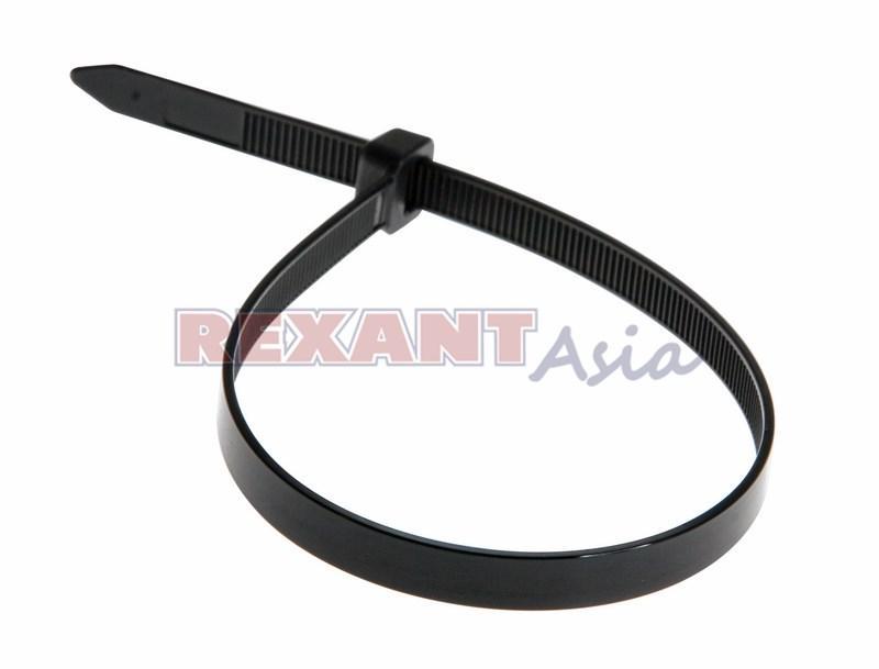 Хомут-стяжка кабельная нейлоновая REXANT 300 x7,6 мм, черная, упаковка 100 шт., (07-0303 )