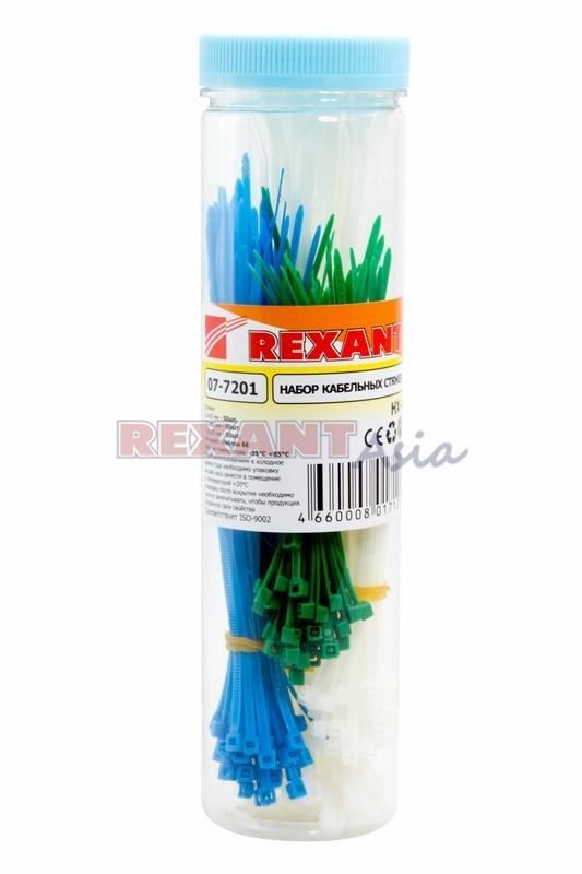 Набор хомутов-стяжек нейлоновых REXANT 100, 150, 200 мм, цветные, НХ-1, тубус 200 шт., (07-7201 )