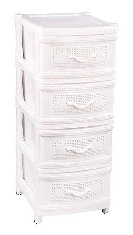 Комод универсальный плетенный 4-х секционный «Альтернатива» (Белый)