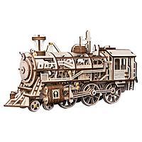 Robotime Деревянный 3D конструктор локомотив, с механическим приводом