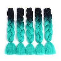Канекалон черный-светло голубой 65 см, косы для плетения, фото 1