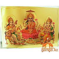 Плакат Сарасвати, Лакшми, Ганеша (размер 17 см*12 см)