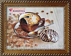 """Картина стразами на холсте """"Бодрящий кофе"""", 30*40см"""