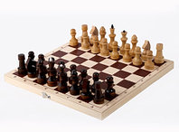 Шахматы обиходные лакированные с доской 290х145х38, фото 1