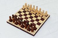 Шахматы обиходные парафинированные с темной доской, фото 1