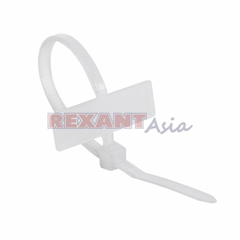 Хомут под маркер nylon 100x2,5 мм 100 шт. белый REXANT, (07-0106 )