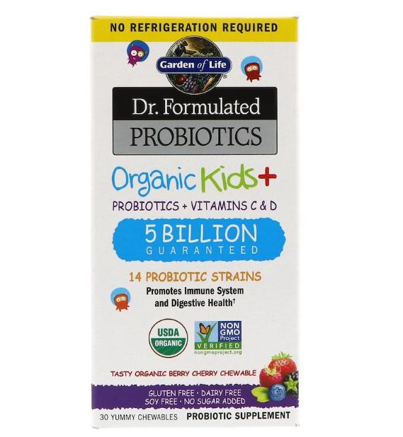 Garden of Life, Dr. Formulated Probiotics, Organic Kids +, органические пробиотики и витамины C и D для детей,