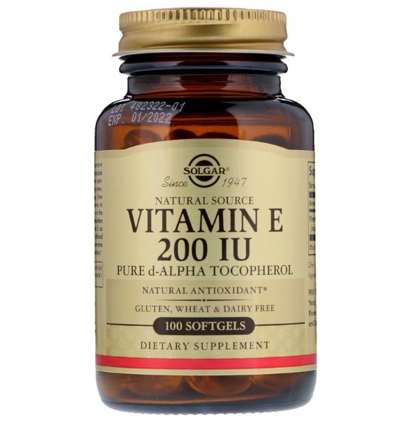 Solgar, Натуральный витамин Е, 200 МЕ, 100 мягких таблеток