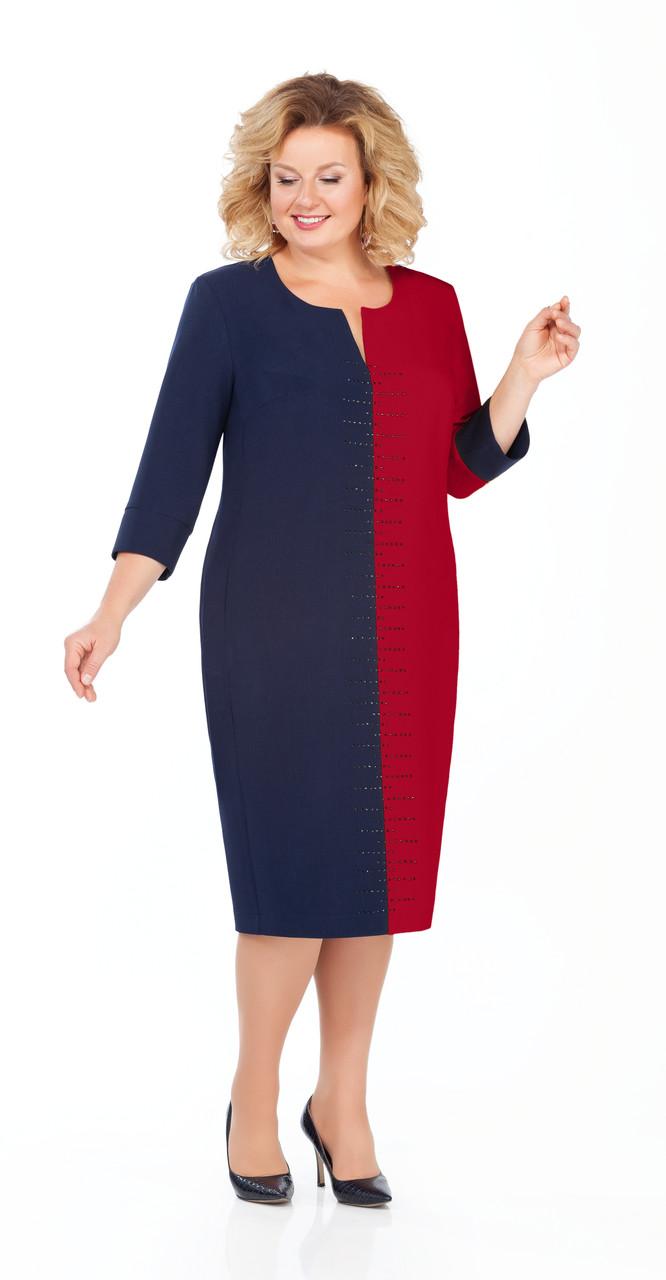 Платье Pretty-930/1, темно-синий+бордо, 56