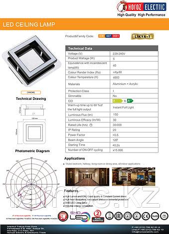 Настенно-потолочный светильник LİKYA-1 5W Хром 4000K 220-240V LED CEIL, фото 2