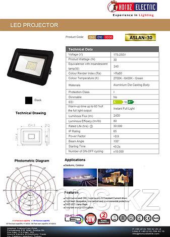 Прожектор герметичный светодиодный ASLAN-30 30W Черный 6400K 175-250V LED PROJ., фото 2