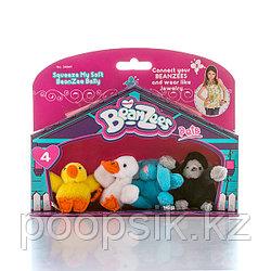 "Beanzees B34041 Мини плюш в наборе ""Цыпленок, Утенок, Кролик, Горилла"""